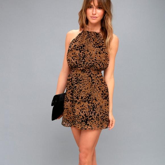 69% off Lulu\'s Dresses Intention Brown Leopard Burnout Velvet Print ...